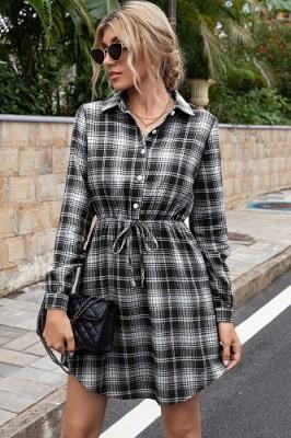Casual Mid-length Waist Black Plaid Dress Shirt