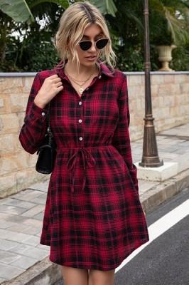 Casual Mid-length Waist Red Plaid Dress Shirt