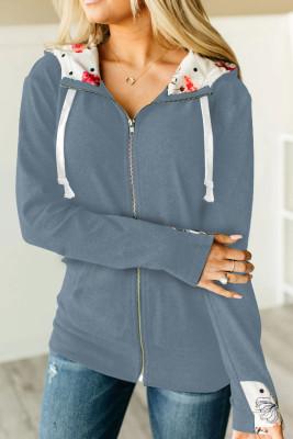 Full Zip Hoodie Coat with Floral Print Hooded Inner