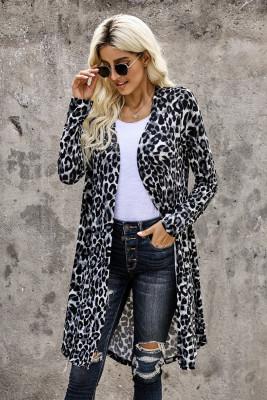 Classic Black Leopard Print Long Cardigan