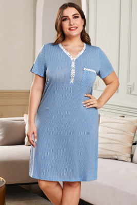 Blue V-neck Button Polka Dots Short Sleeve Plus Size Loungewear