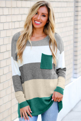 Green Colorblock Pocketed Sweater