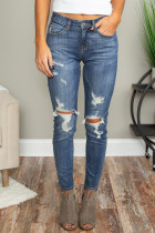 Blue Hollow Out Vintage Skinny Ripped Jeans