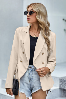 Apricot 3/4 Sleeve Double Breasted Blazer