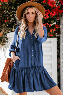 Pocketed Ruffled Denim Shirt Mini Dress