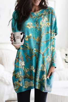 Blue Floral Print Long Sleeve Tunic Top With Two Side Pockets