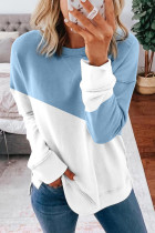 Light Blue Patchwork Dropped Shoulder Sleeve Sweatshirt