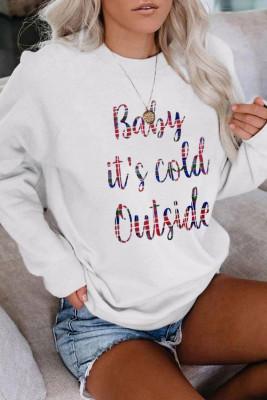 White Crew Collar Colorful Letter Print Christmas Sweatshirt