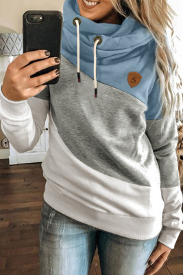 Blue Colorblock Cowl Neck Pullover Hoodie