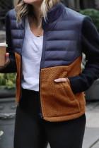Khaki Patchwork Slim Woman Jackets