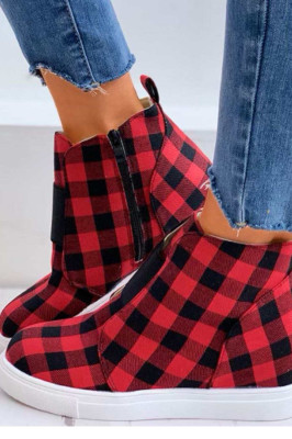 Red Plaid Woman Shoes