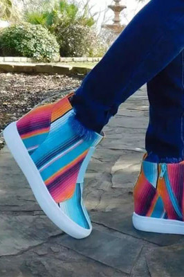 Multi Color Striped Print Woman Shoes