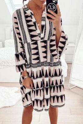 Geometric Print V neck Flare Half Sleeve Ruffle Swing Mini Dress