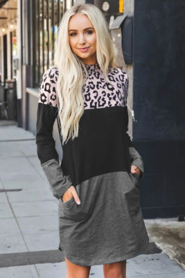 Leopard Color Block Splicing Long Sleeve Cotton Mini Dress