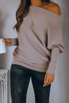 Off Shoulder Ribbed Texture Raglan Long Sleeve Top
