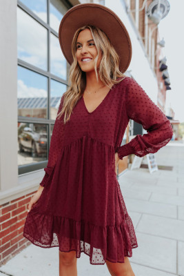 V-Neck Dotted Burgundy Empire Dress