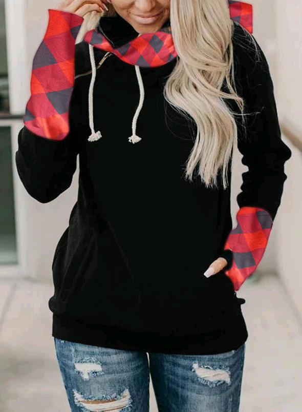 Black Plaid Striped Sleeve Loose Hoodies