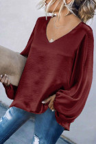 Wine Red Loose Puff Sleeve Women Tops