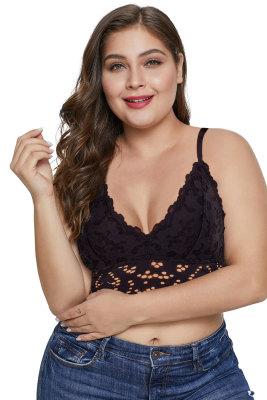 Black Chunky Lace Plus Size Bralette