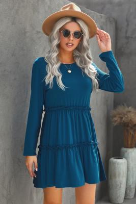 Blue Long Sleeve Ruffled Solid Swing Mini Dress