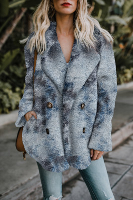 Blue Tie Dye Lapel Collar Open Front Fleece Coat