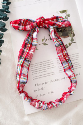 Christmas Multi-color Plaid Snowflake Print Bowknot Headband