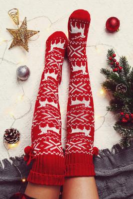 Red Christmas Elk Over Knee Knitted Hairball Socks