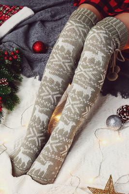 Gray Christmas Elk Over Knee Knitted Hairball Socks
