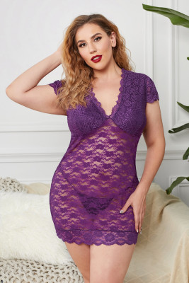 Purple Plus Size V Neck Chemise