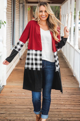 Red Plaid Patchwork Long Coats