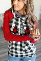 Christmas Tree Plaid Print Hoodies