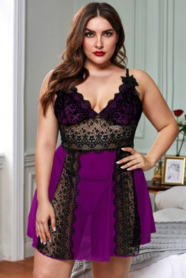 Purple Color Block Hollow-out Lace Gauze Patchwork Plus Size Babydoll