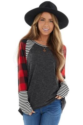 Dark Grey Check Stripe Stitching Long-sleeved Tops