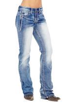 Light Blue Straight Wash Jeans Pants