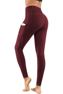 Wine Red Yoga Pants Sport Leggings