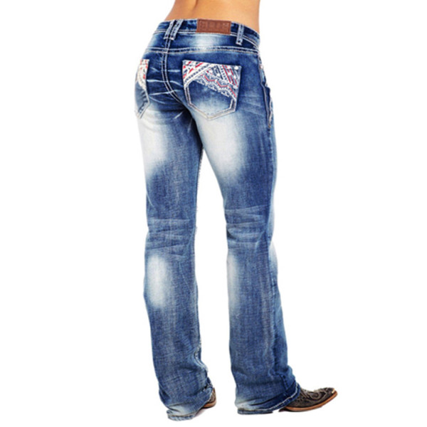 Dark Blue Straight Wash Jeans Pants