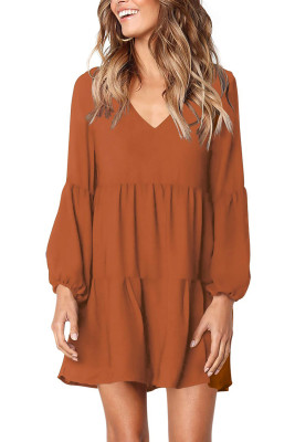 Brown Ruffle V-Neck Flowy Loose Tunic Dress