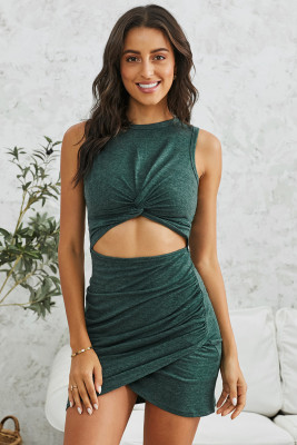 Green Twist Knot Front Cutout Bodycon Dress