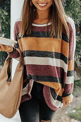 Round Neck Colorful Stripe Tunic Top