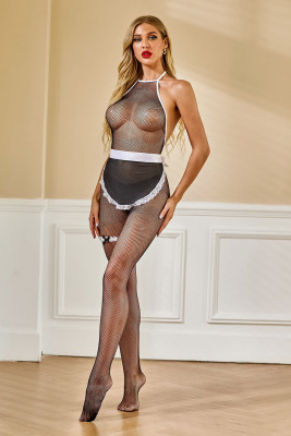 Black Lace Fishnet Body Stocking with Apron
