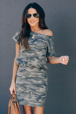 Gray One Shoulder Short Sleeve Camo Mini Dress