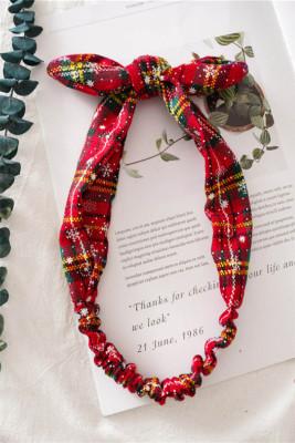 Yellow Red Plaid  Christmas Print Bowknot Headband