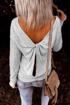 Gray Backless Knot Tops
