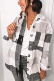 Black Plaid Turn Down Collar Coats