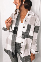 Black Plaid Turn Down Collar Coats