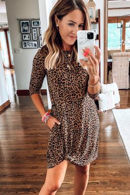 Round Neck Leopard Twist Mini Dress