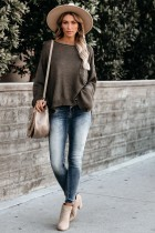 Coffee Round Neck Pocket Loose Knit Sweater