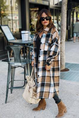Brown Plaid Maxi Length Coats