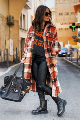 Red Plaid Maxi Length Coats
