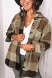 Brown Plaid Turn Down Collar Coats